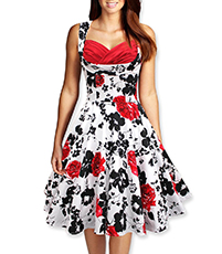 Hepburn Style Vintage Dress – Bright Red and Black / Built In Bra / Floral Print