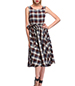 Plaid Vintage Dress – Belted Sash / Sleeveless Styling / Round Neckline / Full skirt
