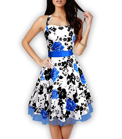 Halter Floral Dress – Bow Tie Belt / Sweetheart Bodice / Wide Waistband / Petticoat Hem