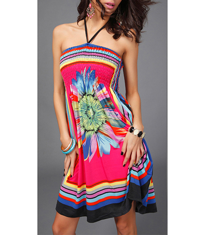 Beach Party Dress – Halter Style / Built in Elasticized Support / Large Flower Pint