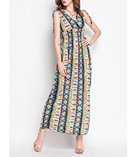 Printed Empire Bodice Lounge Dress – Tie Shoulder Straps / Bohemia Style