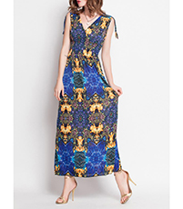 Beach Sundress – Bold Sunny Patterns / Shoulder Tie Strap / Yellow Blue Prints / Bohemia Style