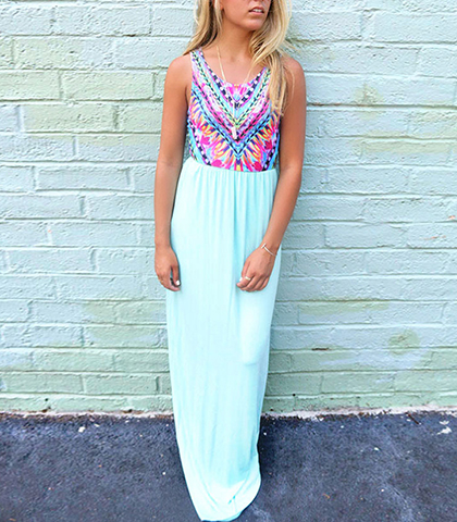 Swirl Stripe Maxi Summer Dress – Jewel Neckline