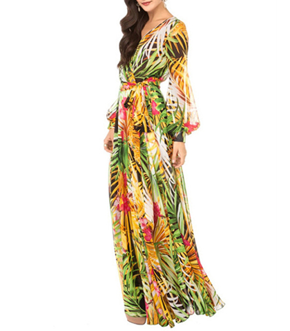 Layered Maxi Long Sleeve Dress – Long Sheer Sleeves / Jungle Print / Surplice Bodice