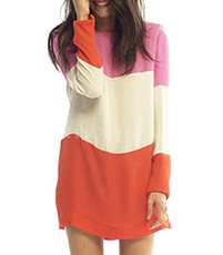 Striped Color Block Dress – Wide Pattern / Layered / Round Neckline