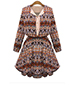 Shirt Dress – Open Lapel / Long Sleeves / Fit and Flare / Aztec Pattern