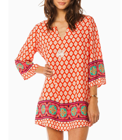 Retro Dress – Three Quarter Wide Sleeves / Medallion Print / V-Neck