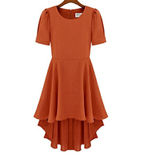 Chiffon Dress – Fluted Hem / Short Sleeves / Orange / Vertical Darts