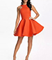 Sleeveless Skater Dress – Orange / Inset Armholes / Square Back / Zippered Closure