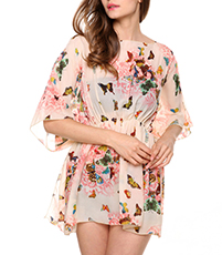 Chiffon Short Dress – Flower and Butterfly Print / Gathered Waist