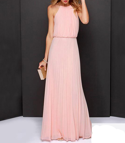 Chiffon Maxi Dress – Halter Style Bodice / Knife Pleated Skirt / Pink