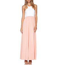 Maxi Dress – White and Light Pink / Short Sleeved