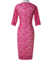 Pink Knee Length Dress – Lace Floral Material / Pencil Skirt Over the Knee