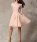 Pink Chiffon Dress – Long Sleeves / Rounded Neck