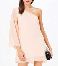One Shoulder Chiffon Shift Dress – Petal Pink