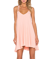 Swing-Style Mini Dress – Thin Straps / Pale Pink Chiffon