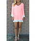 Pink Dresses – Long Sleeves Trimmed In Lace / Wide V-Neck
