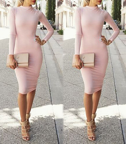 Midi Length Bodycon Dress – Light Pink / Standup Collar