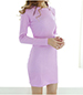 Sheath Dress – Long Sleeves / Medium Pink / Slit Neckline