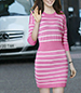 Pink White Striped Knit Dress – Modern Design