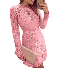 Lace Mini Dress – Pink / Ruffled Skirt / Keyhole Neckline