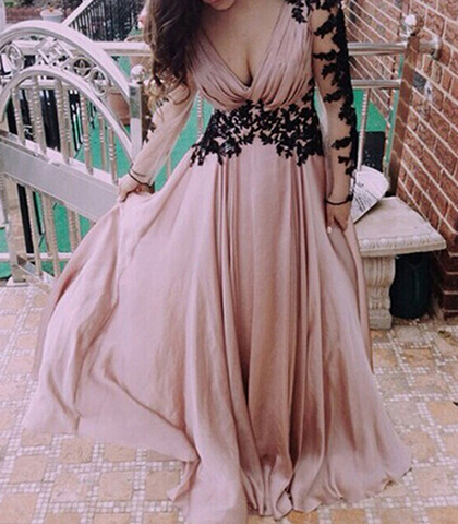 Long Sleeved Maxi Dress – Pink / Black Lace Accents