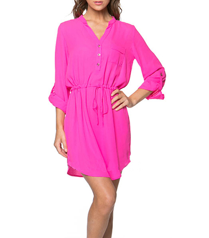 Shirt Tail Chiffon Dress – Button Front / Drawstring Waist / Pink