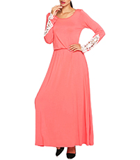 Jersey Maxi Dress – Long Sleeves / Coral / Lace Detail
