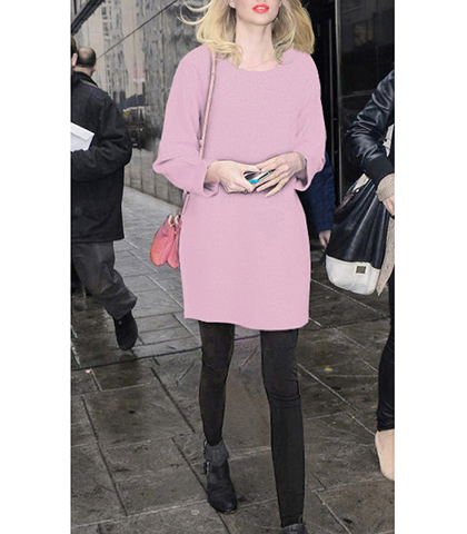 Simple Mini Sweater Dress – Soft Pink / Long Sleeves