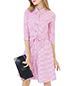 Button Down Fit and Flare Dress – Pink Checks / Matching Adjustable Belt