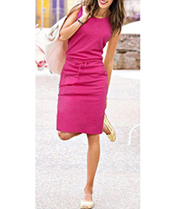 Pink Knee Length Dress – Round Neckline / Sleeveless / Front Side Pockets / Tied Waist