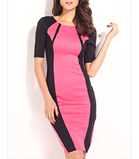 Knee Length Bodycon Dress – Elbow Length Sleeves / Round Neckline / Black Pink