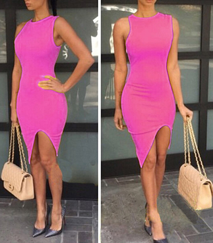Form Fitting Sexy Sleeveless Evening Dress – Crossover Walking Slit / Pink