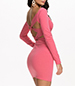 Bodycon Dress – Deep Wide V Neckline / Pink / Long Straight Fitted Sleeves