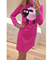 Hot Pink Dress – Long Sleeves / Cuddly Sheep / Crew Neckline