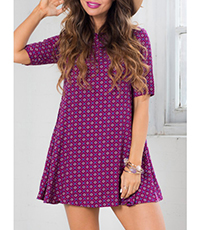 Printed Purple Dress – Keyhole Opening in Back / Short Sleeves / Wide Flair Hem