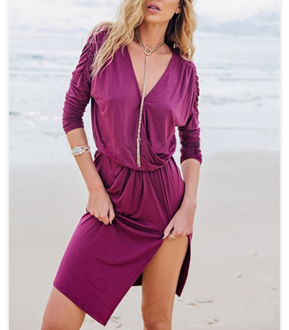 Flirty Fuchsia Zipper Dress – Fuchsia / Short Asymmetrical Hem
