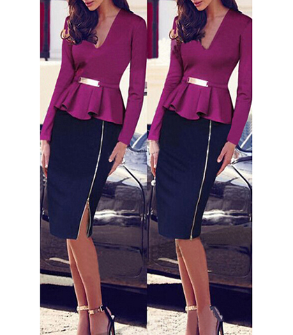 Knee Length Peplum Dress – Peplum Silhouette / Pencil Skirt / Plum Hue