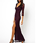 Long Lace Dress – Deep Side Split / Purple / Deep V-Neck