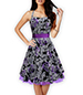 Petticoat Vintage Dress – Narrow Straps / Square Neckline / Wide Waistband / Black Purple