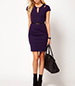 Knee Length Purple Dress – Round Neckline / Cut Out Accents / Belted / Short Sleeves