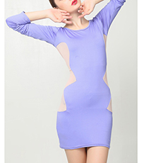 Long Sleeves Bodycon Dress – Semi Sheer / Mesh Insert / Short Hemline / Purple