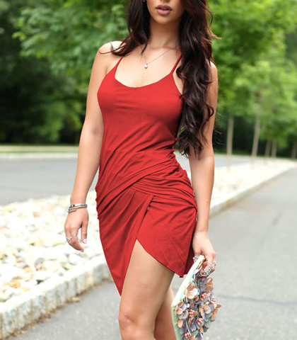 Layered Wrap Dress – Red / Spaghetti Straps / Sleeveless / Deep Round Neckline / Lifted Front
