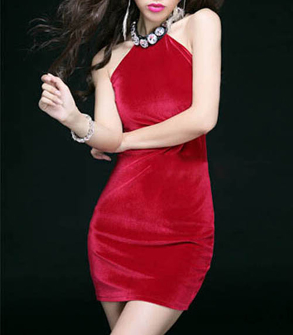 Velvet Mini Dress – Red / Halter Style / Rhinestone Neck Detail / Body Shaping