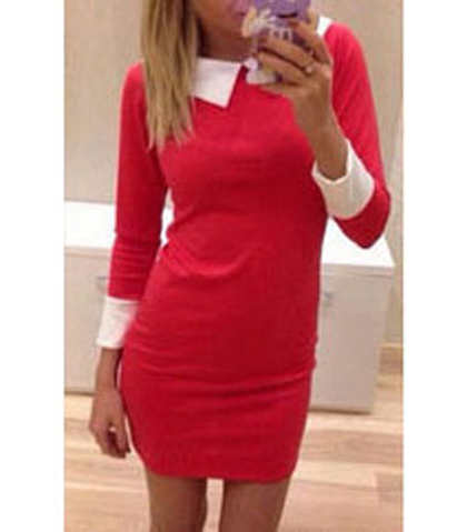 Wide Lapel Red Dress – Long Cuffed Sleeves / Tapered Waist and Hem