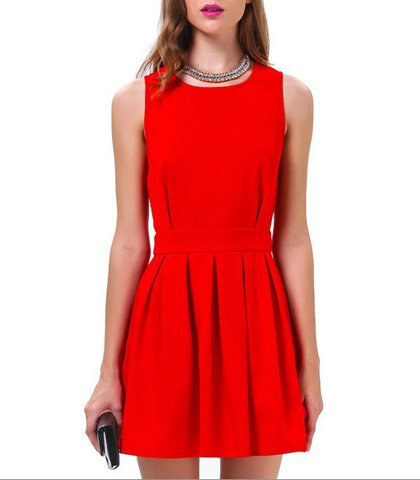 Sleeveless A Line Dress – Fit and Flare Style Skirt / Open Back with Scalloped Edges / Red