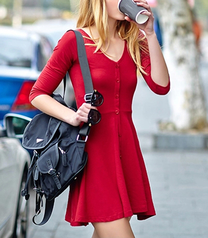 Red Button Up Shirt Dress – 3/4 Length Sleeves / Fit and Flare Waistline