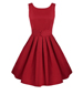 Fit and Flare Vintage Dress – Short Sleeves / Pleated Skirt / Red