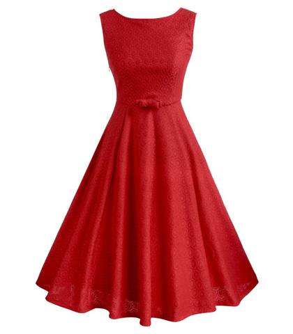 Red Vintage Dress – Lovely Belt Waistline / Sleevless
