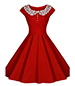 Sleeveless Vintage Midi Dress – Red / Lace Collar / Snugly Fitted Bodice